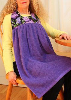 Adult Bib in Purple Lilacs by BlueStarVermont on Etsy