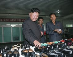 Kim Jong-un visiting a shoe factory