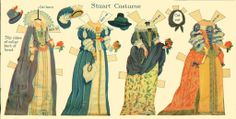 Stuart Costumes:  Historic Costume Paper Doll Cut-Outs by Rachel Taft Dixon, 1934