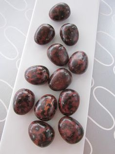 Mint rocks. Chocolate pralines.