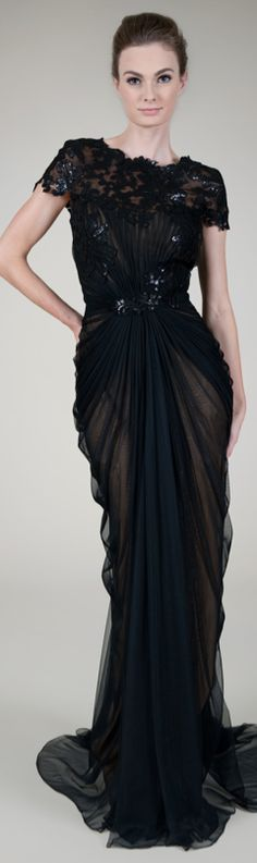 Paillette Lace and Tulle Gown in Black / Nude #josephine#vogel