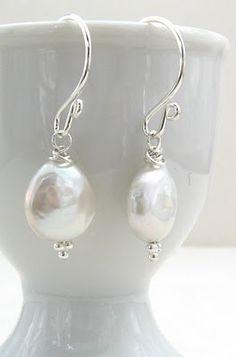 Gracie Jewellery: Handmade Sterling Silver Coin Pearl Earrings - Adrianna