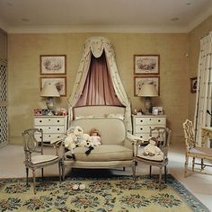 Beautiful girl's room by Nicholas Haslam in London.