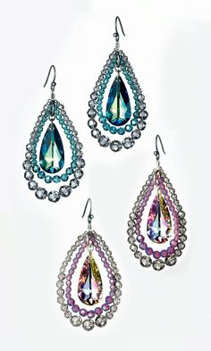 Earrings Diy Jewelry Design - Earrings with Swarovski Crystal - Fire Mountain Gems and Beads Jewelry Design Earrings, Bead Earrings, Wire Jewelry, Jewelry Crafts, Beaded Jewelry, Gems Jewelry, Swarovski Jewelry, Swarovski Crystals, Jewlery