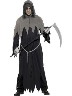 You can buy a Men's Grim Reaper Robe Costume Set for Halloween parties from the Halloween Spot. This Grim Reaper costume includes a black Hooded Robe & Chain. Grim Reaper Halloween Costume, Soirée Halloween, Black Halloween Costumes, Black Costume, Halloween Season, Costume Paris, Costume Noir, Costume Shop, Costume Dress