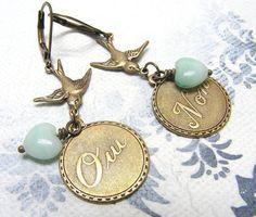 """Ohrhänger - """"Er liebt mich..."""" romantische vintage Ohrhänger - ein Designerstück…"""
