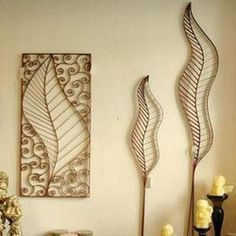 Golden Fashion Leaves Art Decor Gold Decor Contemporary Metal Wall Wall Hanging Home Decoration Cheap Wall Decor, Wall Decor Set, Metal Wall Decor, Wire Crafts, Metal Crafts, Decor Crafts, Staircase Wall Decor, Art Du Fil, Wall Decor Online