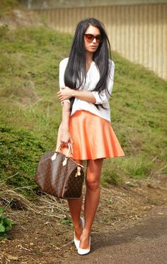 Pretty Little Thing Tangerine Pleated High Waisted Skater Skirt