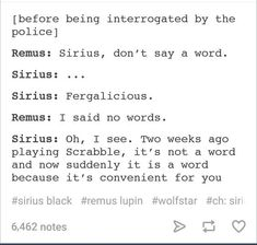'Psych' and 'Harry Potter', I can totally see this conversation happening. Harry Potter Tumblr Posts, Harry Potter Puns, Harry Potter Universal, Harry Potter World, Harry Potter Ships, Remus And Sirius, Sirius Black, Remus Lupin, Severus Snape