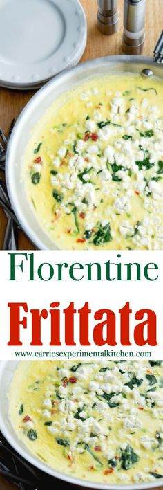 Florentine Frittata made with fresh eggs, spinach, sun dried tomatoes, Greek yogurt and goat cheese is a tasty way to start your day.