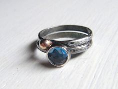 Night Skies London blue topaz stack set in Silver by EmeraldPixie, $70.00
