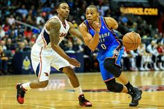 Can Russell Westbrook and the Thunder stop Jeff Teague and the Atlanta Hawks 14 game winning streak? #NBA #Hawks #Thunder