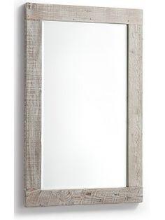 HYCKS 110 x 70 in legno naturale finitura decapato grigio rettangolare specchio