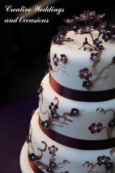 Elegant dark cherry blossom cake
