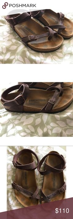 Birkenstock Yara Habana Oiled Wrap Sandal 39 8 9 This is a re-posh 😭 Beautiful sandals. Worn only a couple of times previously, only tired on personally. ❣️ Size is 39. Birkenstock Shoes
