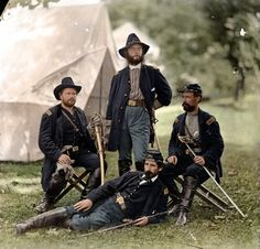 Civil War Photos Turned into Glorious Color.  Union officers of the 4th Pennsylvania Cavalry reclining at Westover Landing in August of 1862