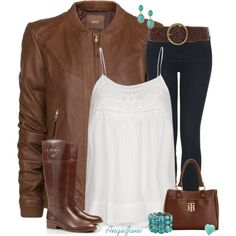 Fall outfit - Love everything about this outfit, especially the riding boots and turquoise jewelry. #fashion