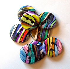 Stroppel Cane Buttons in Blue Purple Yellow by beckysuecreations, $14.00