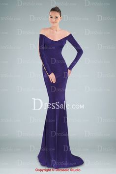 Majestic Scoop Neckline Long sleeve Sweep Train Evening Dress in Appliqued Illusion Back Design