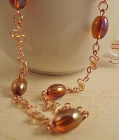 Amber and Copper Wire Worked Necklace by ShayBelleDesigns on Etsy, $20.00