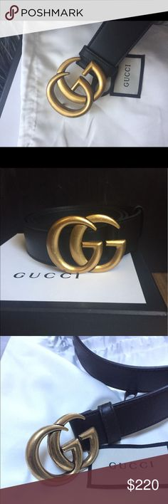 nwt Authentic Gucci marmont belt ~black~ gold Nwt.. Authentic black marmont double G gold buckle 2017 Gucci belt, sold out..serial  engraved inside of belt, 95 cm fits waist 31-34 Please check pics🤳, what you see is what you get, comes brand new in box🎁, low low price 💵send offers or buy it now... no trades, no I will not give up my source.. 100% authentic same as pics, ty 💋🌹 Gucci Accessories Belts