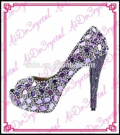 Aidocrystal fashion Italian purple crystal diamond bridal wedding jeweled heel  shoes newest women high heels Ladies Pumps Shoes 7d9a7526e49c