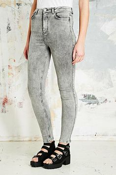 Light Before Dark Super High-Rise Skinny Jeans in Grey - Urban Outfitters