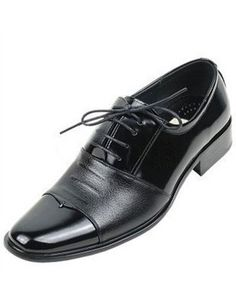Handsome Black PU Cowhide Lace Up Groom Shoes - Wedding Shoes