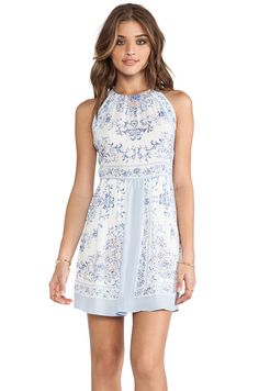 BCBGMAXAZRIA Cambria Dress in Light Crystal Blue Combo from REVOLVEclothing