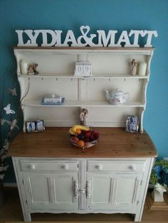Upcycled ercol Welsh dresser in Annie Sloan Original and distressed. By Bluebells Vintage