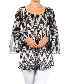 Another great find on #zulily! Black Zigzag Bell-Sleeve Top by J-MODE #zulilyfinds