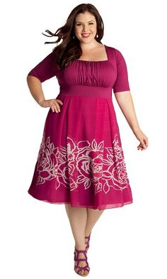 #FashionBug Womens Plus Size Jocelyn #Dress . The Jocelyn Dress swings and sways in an A-line silhouette and abstract floral print. Its set-in sleeves at the elbow and figure forming waistband will have you feeling confident and classy. Finish the look with neutral heels and light pink gems.