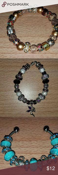 Handmade Bracelets Some Pandora, Murano beads.  Bangle & European Style. Purple?Fire Jewelry Bracelets