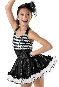 Striped Ruffle Sequin Jazz Dress; Weissman Costume