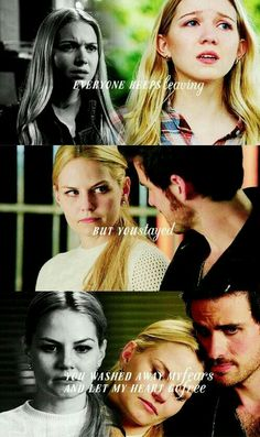 """""""Everyone keeps leaving, but you stayed, you washed my fears and let my heart go free"""" #ouat #captainswan"""