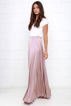 f95f23c87c683 Parasol Spin Mauve Satin Maxi Skirt at Lulus.com! Maxi Skirt Outfits, Mauve
