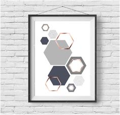 Grey and Rose Gold Print Gray & Copper Wall Art Geometric Print Honeycomb Art Hexagon Poster Scandinavian Print Gray Copper Home Decor by PrintAvenue on Etsy https://www.etsy.com/uk/listing/261566746/grey-and-rose-gold-print-gray-copper
