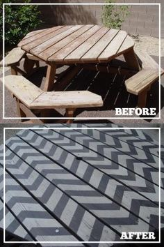 LOVE THIS! I could paint chevron pattern to look like a rug AFTER we stain the deck...