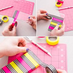 DIY a bright, new phone case with colorful washi tape.
