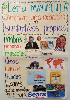 SUSTANTIVOS PROPIOS / Uso de letra Mayuscula Dual Language Classroom, Bilingual Classroom, Bilingual Education, Spanish Anchor Charts, Reading Anchor Charts, Spanish Lesson Plans, Spanish Lessons, French Lessons, Lapbook Templates