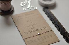 Vriendschap kaart - zilver-vriendschap armband - wensen armband - BFF - beste vriend Card - vriend Card-Greeting Card-Card voor vriend-