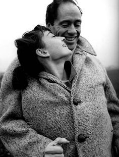 I love how cute and fun this picture is of Audrey. (Audrey Hepburn and Mel Ferrer by hannah karina) #styleicon #modcloth