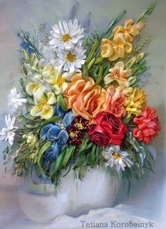 picture Floristic composition embroidered by SilkRibbonembroidery, €100.00