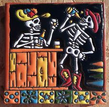 "Talavera Mexican tile Day of the Dead hi relief 6"" Woman Man Bar drinks date hat"