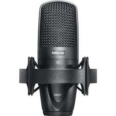 The Shure SM27 is a rugged, versatile, large-diaphragm, side-address cardioid microphone. It has low self-noise and extended frequency response that picks up vocal and instrument nuances with clarity. The SM27 recording mic's durable Shure construction features 3 separate mesh layers that reduce wind and breath noise. It includes a rubber suspension shock mount ideal for isolating stand vibrations in recording applications, a velveteen storage pouch that protects it when not in use, and a…