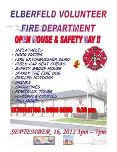 Elberfeld Volunteer Fire Department - Open House and Safety Day! September 16, 2012 - 3pm to 7pm