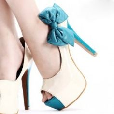 CHIQ   Detachable Blue Ribbon Patent Peep ToeSheek Heels - Stolen from Dr. Jodi Jacobs, not my style, but they are cute