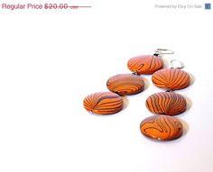 SALE 40% OFF Orange Wooden Dangle Earrings Long by JustColor