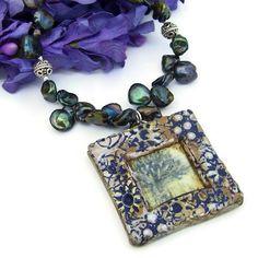 Handmade Tree Pendant Necklace Rustic Green Pearls Bali Beaded Jewelry   ShadowDogDesigns - Jewelry on ArtFire