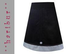 Midiröcke - Cordrock LOLLIPOP schwarz mit retro blumen - ein Designerstück von haribur bei DaWanda